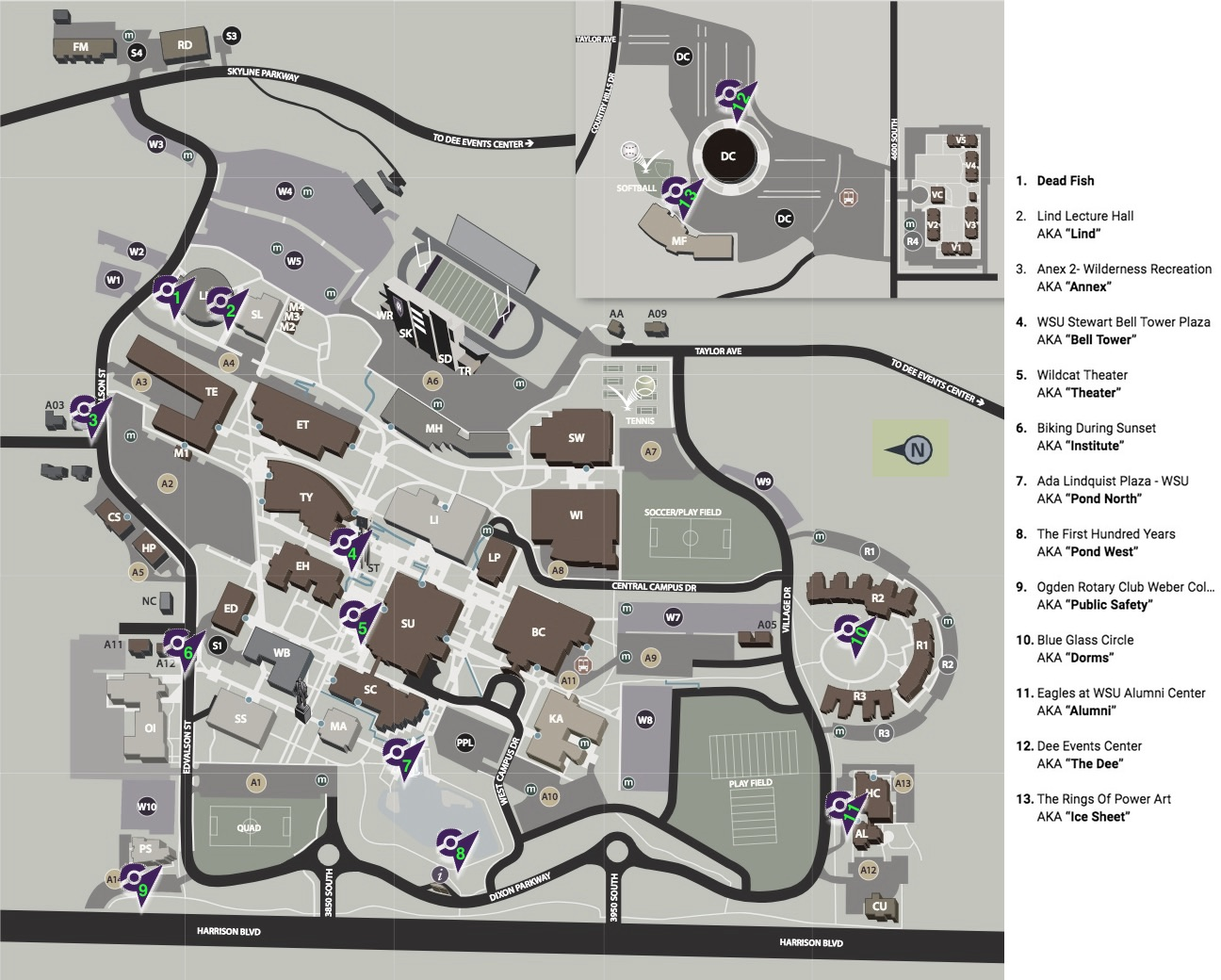 graphical map of Weber's Ogden campus with gyms marked